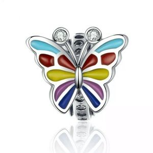 Jewelry - NEW•Silver Multicolor Butterfly DIY charm/bead
